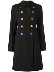 Love Moschino Double Breasted Flared Coat Black