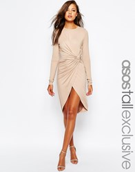 Asos Tall Body Conscious Dress With Twist Knot Detail Mink