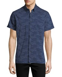 Billy Reid Tuscumbia Short Sleeve Floral Cotton Shirt Indigo