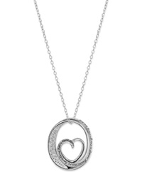 Macy's Inspirational Cubic Zirconia Oval Heart Pendant Necklace In Sterling Silver