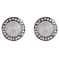 Kastur Jewels Grey Sapphire And Zircon Stud Earrings Gold Grey Silver