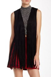 Fate Open Front Fringe Vest Black