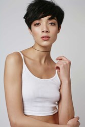Topshop Petite Scoop Ribbed Crop Cami White