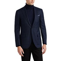 Isaia Delain Select Overplaid Wool Flannel Two Button Sportcoat Navy
