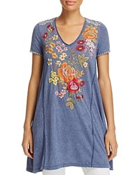 Johnny Was Collection Karlotta Embroidered Drape Tee Navy