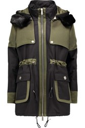 Karl Lagerfeld Stormy Hooded Faux Fur Trimmed Twill And Sateen Coat Army Green