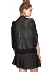 Pixie Market Black Varsity Leather Cape