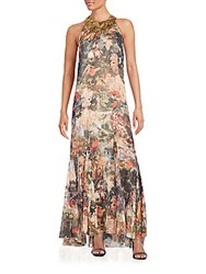 Alice Olivia Shona Embellished Neck Maxi Dress Jungle Safari