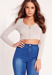 Missguided Zip Up Cardigan Crop Jumper Grey Grey