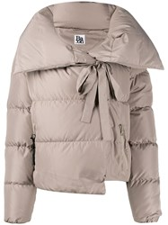 Bacon Oversized Collar Down Jacket Grey
