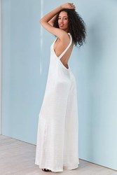 Silence And Noise Adella Wide Leg Satin Jumpsuit White