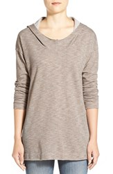 Petite Women's Gibson Hooded Long Sleeve Tunic Taupe