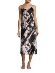Natori Layla Floral Gown Red Black