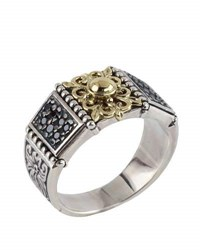 Konstantino Asteri Floral Pave Black Diamond Band Ring Multi