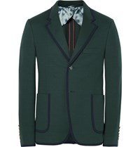 Gucci Green Slim Fit Contrast Tipped Cotton Suit Jacket Dark Green