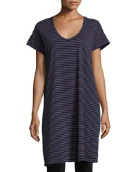 Current Elliott The Slouchy Scoop Neck T Shirt Dress Navy Sonic Stripe Blue Pattern