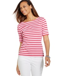 Karen Scott Petite Striped Boat Neck Tee Status Pink