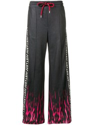 Just Cavalli Fire Print Track Trousers Black