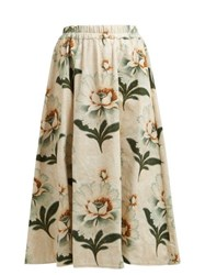 By Walid Daisy Floral Print Cotton Canvas Midi Skirt Green Print