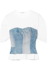 Junya Watanabe Layered Cotton Jersey And Denim Top Blue