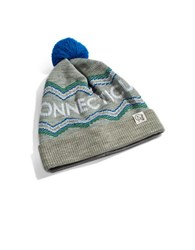 Tuck Shop Co. Connecticut Striped Pompom Beanie Light Heathered Grey