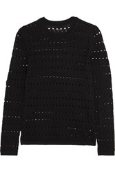 J Brand Colony Open Knit Cotton And Cashmere Blend Sweater Black
