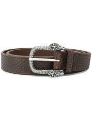 Orciani Dragon Buckle Detail Belt Brown