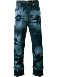 James Long Hibiscus Print Jeans Blue