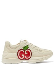 Gucci Rhyton Apple Print Leather Trainers White Multi