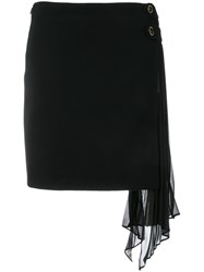 Givenchy Side Frill Fitted Skirt Black