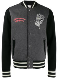 Alexander Mcqueen Floral Skull Embroidered Bomber Jacket Grey