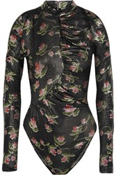 Preen By Thornton Bregazzi Etta Printed Metallic Stretch Silk Blend Lurex Bodysuit Black