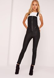 Missguided Coated Skinny Dungarees Black Black