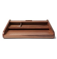 Linley Tambour Walnut Desk Tidy Brown