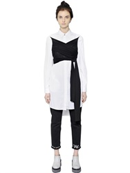 Mm6 Di Maison Margiela Wrap Cotton Poplin And Jersey Shirt