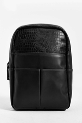 Focused Space Veneer Crocodile Backpack Black