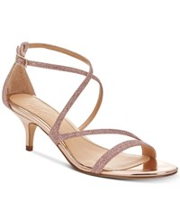 Jewel Badgley Mischka Gal Strappy Evening Sandals Women's Shoes Rose Gold