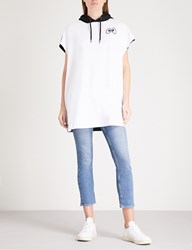 Mini Cream Slogan Embroidered Cotton Jersey Hoody Dress White