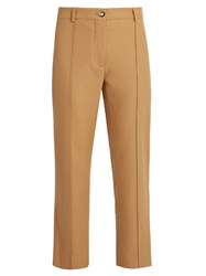 Sies Marjan Flared Leg Wool Twill Cropped Trousers Camel