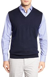 Peter Millar Men's Merino Wool V Neck Vest Navy