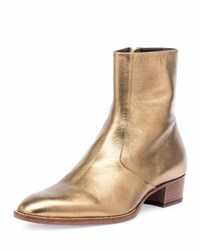 Saint Laurent Wyatt 40Mm Men's Metallic Leather Ankle Boot Gold