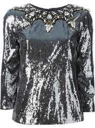 Dolce And Gabbana Crystal Embellished Sequin Top Grey