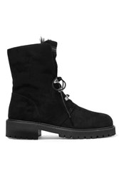 Giuseppe Zanotti Shearling Lined Suede Ankle Boots Black
