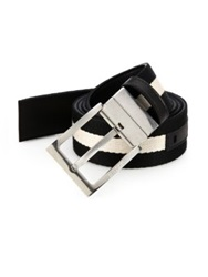 Bally Striped Reversible Belt Black White