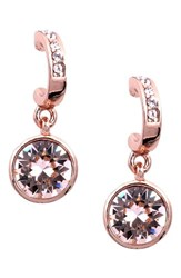 Givenchy Women's Crystal Hoop Drop Earrings Rose Gold Silk