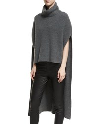 Rosetta Getty Ribbed Cashmere Turtleneck Poncho Charcoal