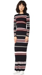 Chinti And Parker Rib Striped Long Dress Navy