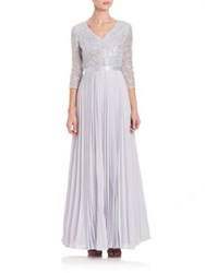 Kay Unger Sequin Lace Pleated Chiffon Gown Periwinkle