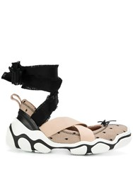 Red Valentino Ankle Tie Mesh Sneakers Neutrals