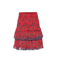 Etoile Isabel Marant Naomi Printed Cotton Miniskirt Red